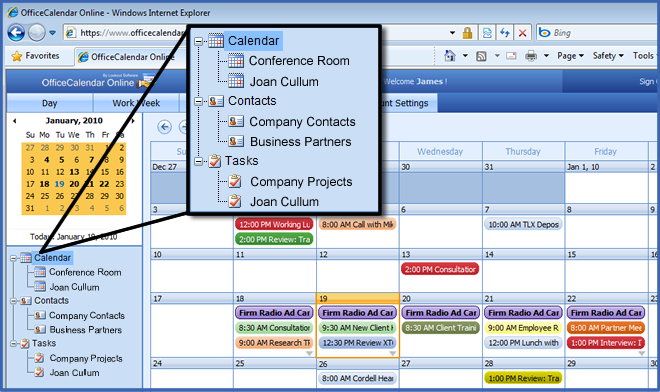 Outlook Web Access with OfficeCalendar Online