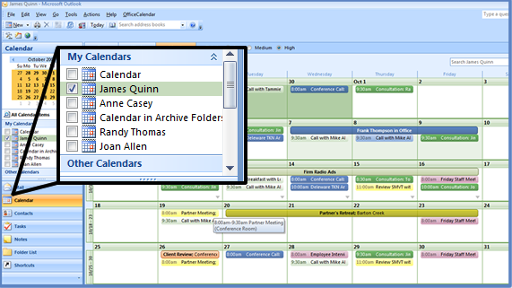 Sharing Personal Outlook Calendar Folders: Outlook's Month View
