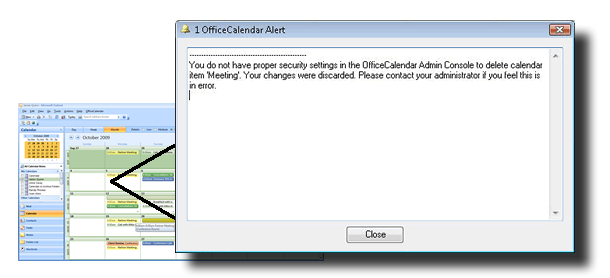 Security alerts for sharing Microsoft Outlook calendars