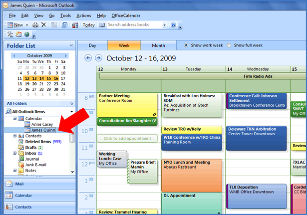Sharing Personal Outlook Calendar Folders: Outlook's Week View